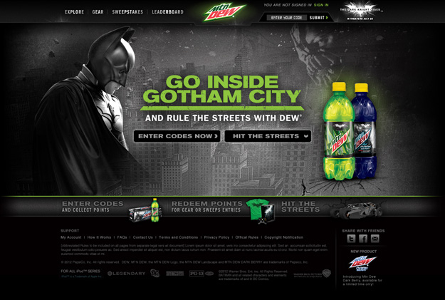 Mountain dew dark knight rises sweepstakes and contests