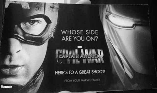 """Jeremy Renner has just shared some early Captain America: Civil War artwork, featuring the comic book tagline, 'Whose side are you on?"""""""