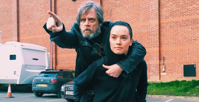 When it comes to Jedi training, Daisy Ridley is learning the old fashioned way. Mark Hamill just shared an image of a very familiar training routine.