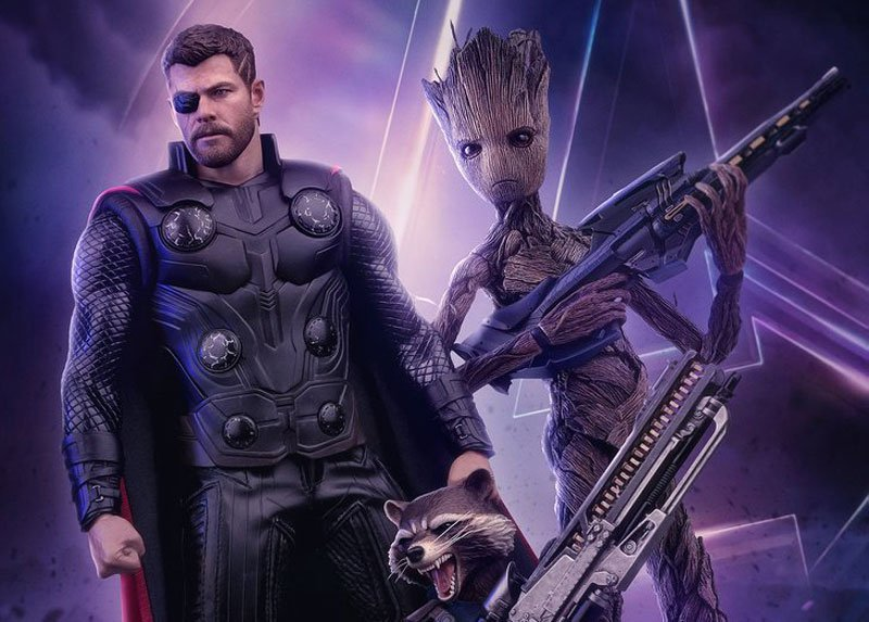 teenage groot and thor hot toys from infinity war revealed