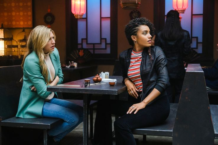 Jes Macallan as Ava Sharpe and Maisie Richardson-Sellers as Charlie