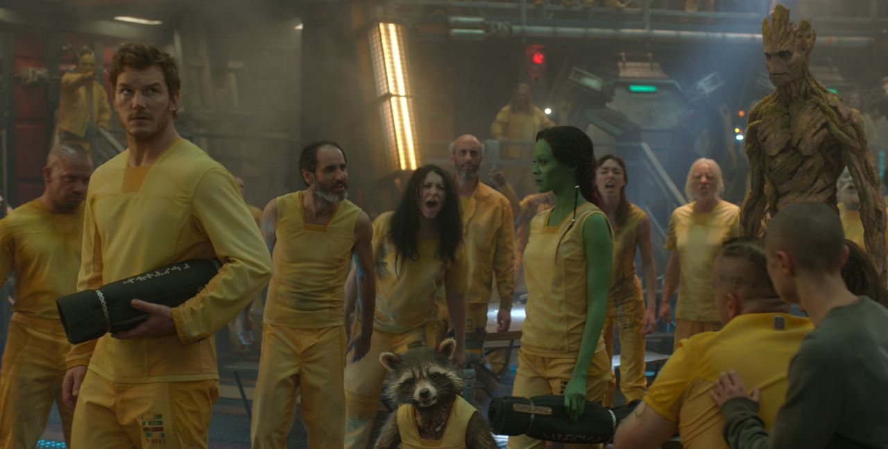 Marvel's Guardians Of The Galaxy  L to R: Star-Lord/Peter Quill (Chris Pratt), Groot (Voiced by Vin Diesel), Rocket Racoon (Voiced by Bradley Cooper), Drax the Destroyer (Dave Bautista) and Gamora (Zoe Saldana).    Ph: Film Frame  ©Marvel 2014