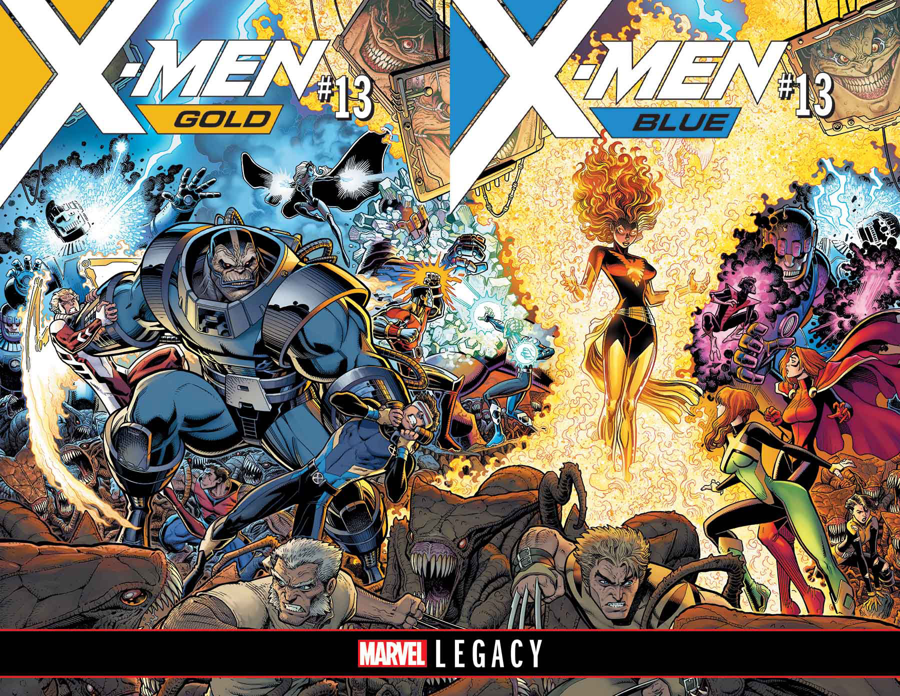X-MEN BLUE AND GOLD INTERLOCKING COVERS