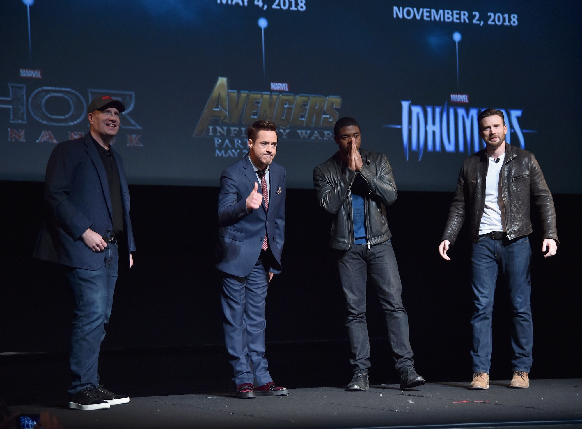 LOS ANGELES, CA - OCTOBER 28: (L-R) President of Marvel Studios Kevin Feige and actors Robert Downey Jr., Chadwick Boseman and Chris Evans onstage during Marvel Studios fan event at The El Capitan Theatre on October 28, 2014 in Los Angeles, California. (Photo by Alberto E. Rodriguez/Getty Images for Disney) *** Local Caption *** Kevin Feige;Robert Downey Jr.;Chadwick Boseman;Chris Evans