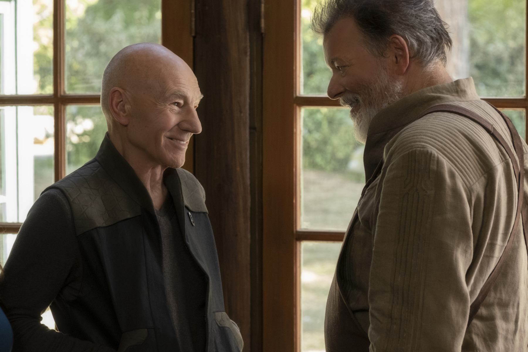 Patrick Stewart as Jean-Luc Picard and Jonathan Frakes as William Riker